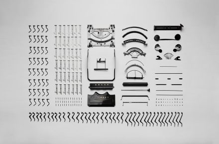disassembled typewriter parts