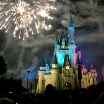 cinderella castle at walt disney world at night with fireworks
